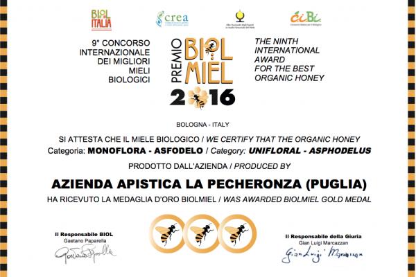 Miele di Asfodelo - Premio Biolmiel